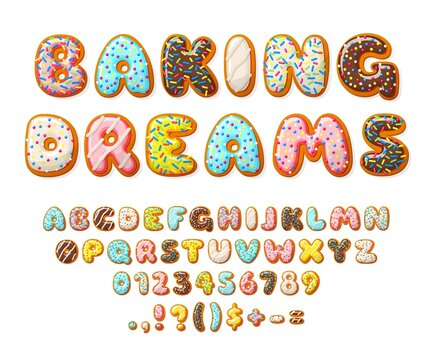 Donut font. Sweets letters, bakery text numbers alphabet. Cake and cookies, isolated baby glazed dessert. Color 3d pastry recent vector set. Illustration sugary english abc and numbers