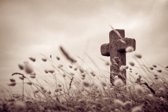 Stone cross on Saint Nicolas island, Glénan archipelago, Brittany, France