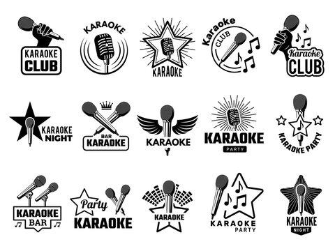 Karaoke event. Music party symbols emblems with microphone singers concept logos record studio recent vector pictures. Illustration karaoke music logo, sound label karaoke