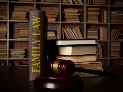 Family law in the library and gavel.