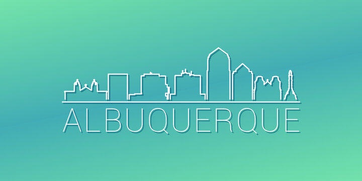 Albuquerque, NM, USA Skyline Linear Design. Flat City Illustration Minimal Clip Art. Background Gradient Travel Vector Icon.