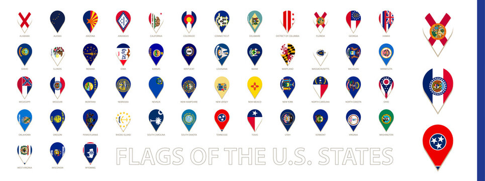 All  US State flags sorted alphabetically. Vertical pin icon.