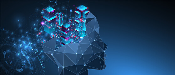 Artificial intelligence (AI) and big data concept. Machine cyber mind.  Technology vector background. Wall mural