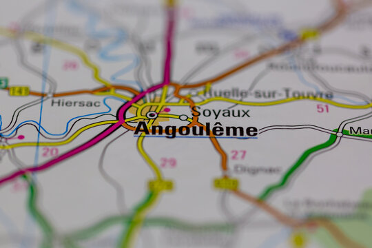 02-28-2021 Portsmouth, Hampshire, UK Angouleme Shown on a road map or Geography map
