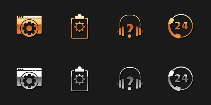 Set Browser setting, Checklist with 24 hours service, Headphones and Telephone support icon. Vector.