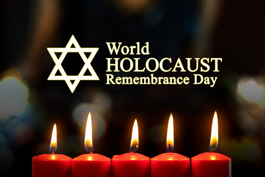 Candles with world holocaust remembrance day text