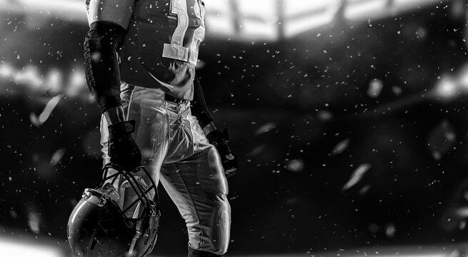 Sportsman with ball in helmet on stadium in action. Sport wallpaper. Team sports.