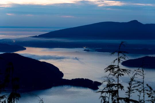 BC Ferry rounding Bowen island heading to the Sunshine Coast - Gibsons, BC Canada