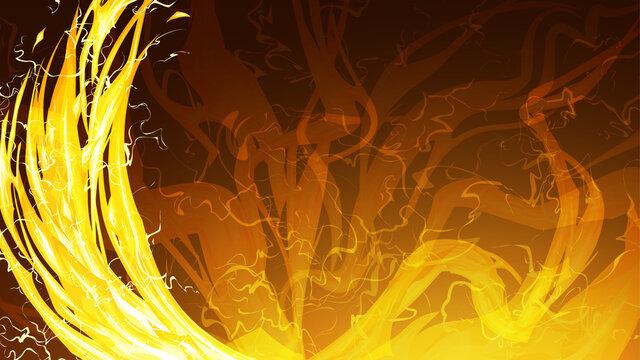 光属性のエフェクト風_攻撃と雷のフレーム_イラスト素材_16:9