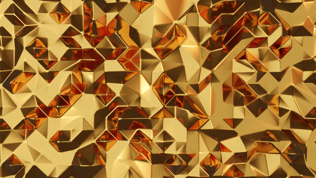 3d rendering golden abstract low poly background
