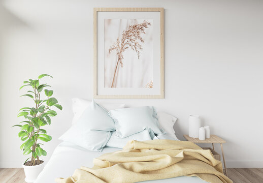 Blank Wood Frame Mockup in a Room with a Bed