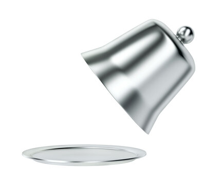 Side view of silver cloche with open lid, isolated on white background