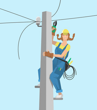 Woman electrician on a pole is engaged in repair of electric networks. Cheerful female working with electrical equipment. Vector flat design illustration.