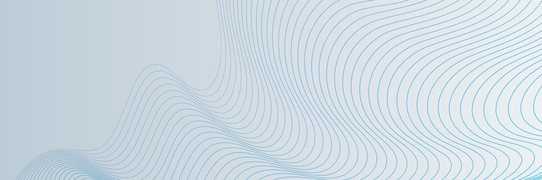 Blue wave lines on white background. Abstract wave element for design. Digital frequency track equalizer. Stylized line art background. Vector illustration. Wave with lines created using blend tool.