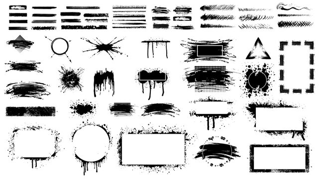 Grunge stencil frames. Set of hand drawn spray paint frames and text banners. Brush splash abstract rectangular stencil border. Isolated vector icons set