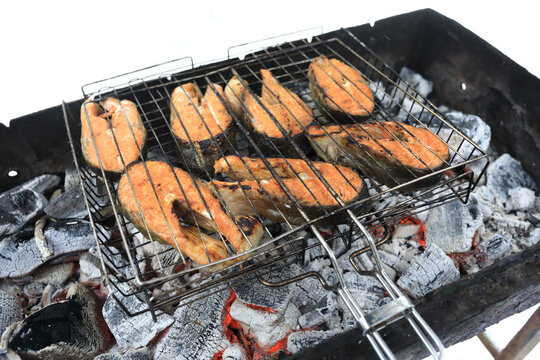 Cooking Wild Coho Salmon Fillets on grill