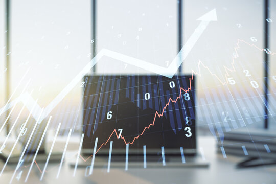 Abstract creative financial graph with upward arrow on modern computer background, financial and trading concept. Multiexposure