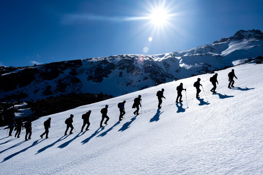 Beautiful photo frame from winter climbing programs of crowded and professional mountaineers