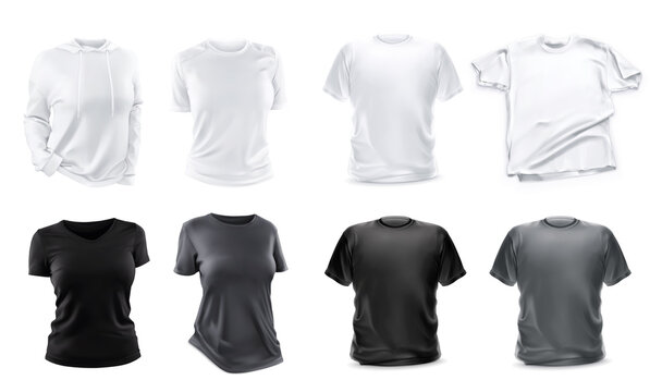 Set of t-shirts mockup 3d realistic vector objects