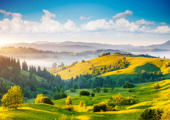 Great countryside landscape in morning light. Location place Carpathian mountains, Ukraine, Europe.