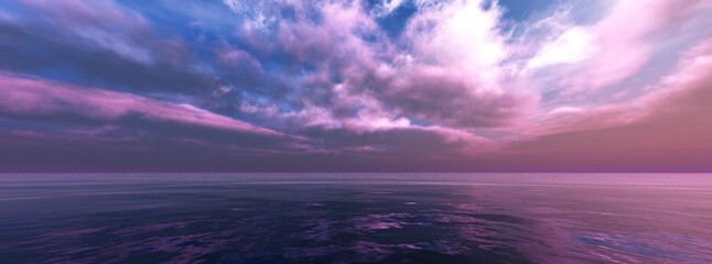 Seascape panorama, sea sunset panorama, sea and sun, 3D rendering