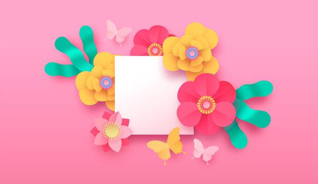 Pink papercut flower butterfly background template