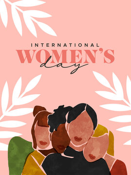 Women's Day abstract art woman friend group card