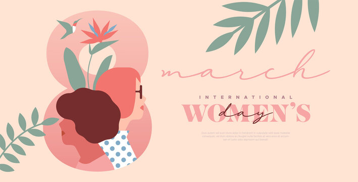 Women's day 8 march pink tropical leaf woman card