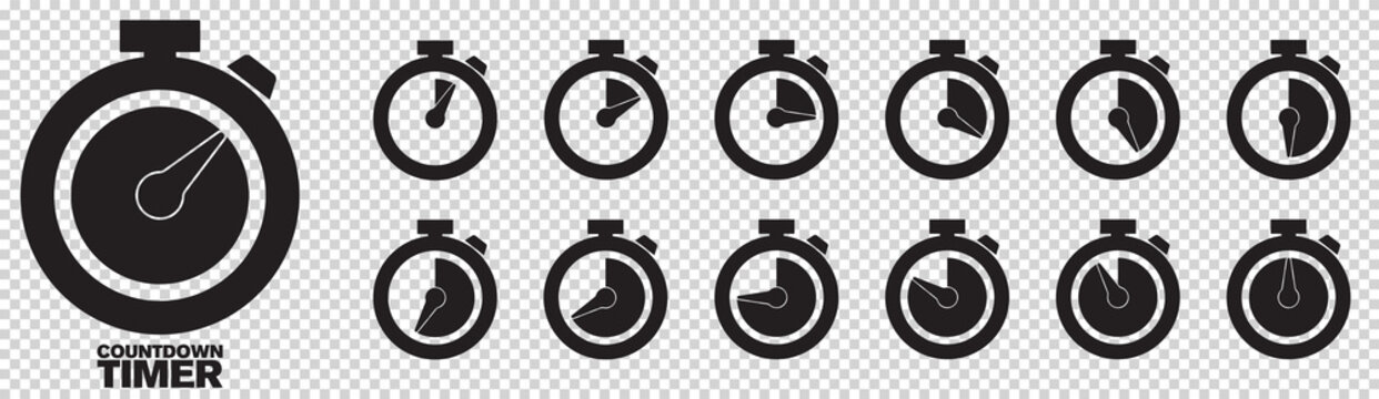 Timer, clock, stopwatch isolated set icons with different time. Countdown timer symbol icon set. Sport clock with red colored time meaning. Label cooking symbols. Stopwatch collection