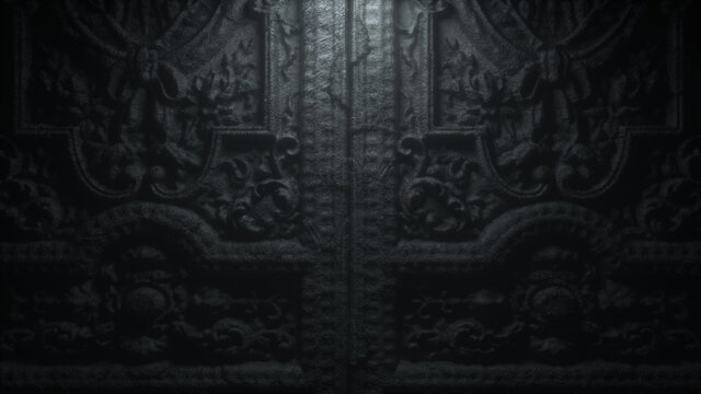 Old gothic stone door to hell with patterns. 3d render