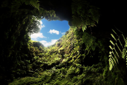 Lava tube in terceira island, azores, ,