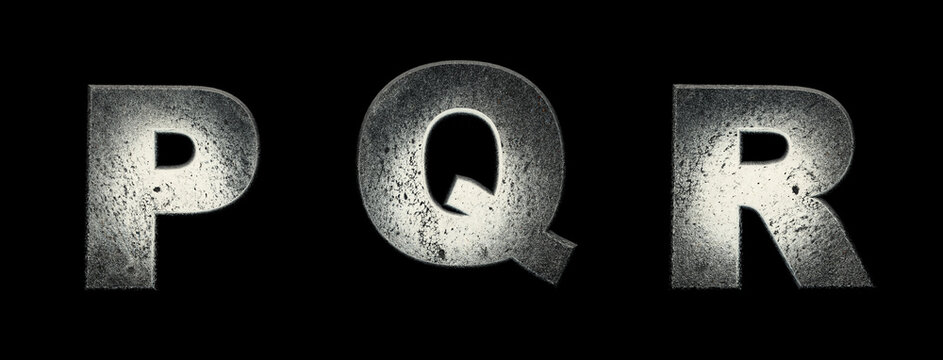 Destroyed white alphabet. Letters P, Q, R. Fragmented white font 3d render. Suspense, terror concept. Background black, remove in one click.