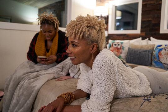 Black women having conversations during leisure vacation