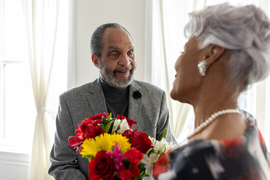 Senior Black couple celebrating long lasting relationship, love milestones