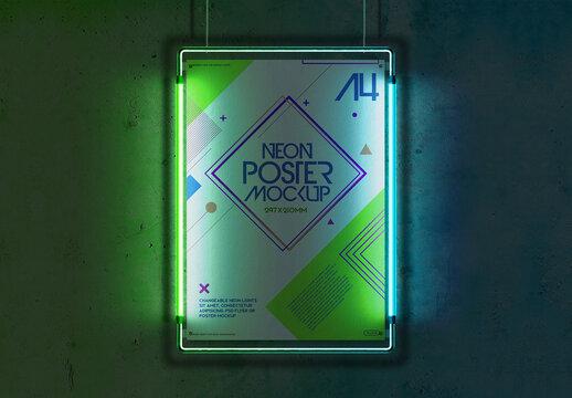 Hanging Mockup with Flyer, Poster, Neon Light, Metal Frame