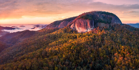 Autumn sunrise on the Blue Ridge Parkway - Looking Glass Rock - near Asheville and Brevard - Pisgah National Forest