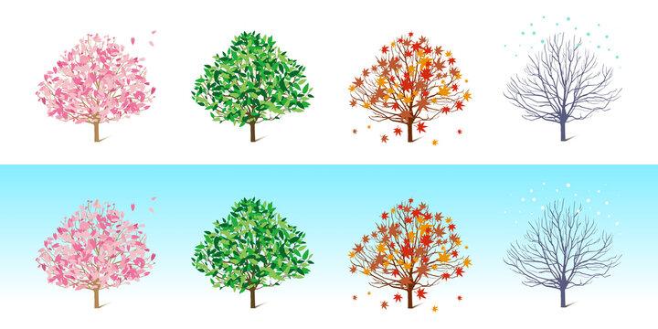 春夏秋冬、季節の移り変わりのベクターイラスト背景素材
