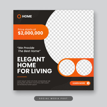 Elegant home for living social media post template. Real estate square banner
