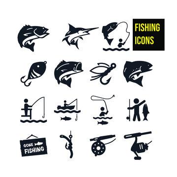 Fishing Icons icon - stock illustration.