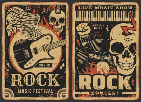 Rock music posters, concert or band fest and live music show festival, vector. Hard rock music concert grunge retro posters with skeleton skull, electric guitar on wings, rocker fist and drums in fire