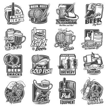 Craft beer brewery and festivals sketch icons set. Oktoberfest beverages and snacks, local brewing pub or bar equipment emblems. Tankard and wooden barrel, beer bottle and hop, barley engraved vector