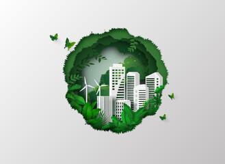 environment with green city - fototapety na wymiar