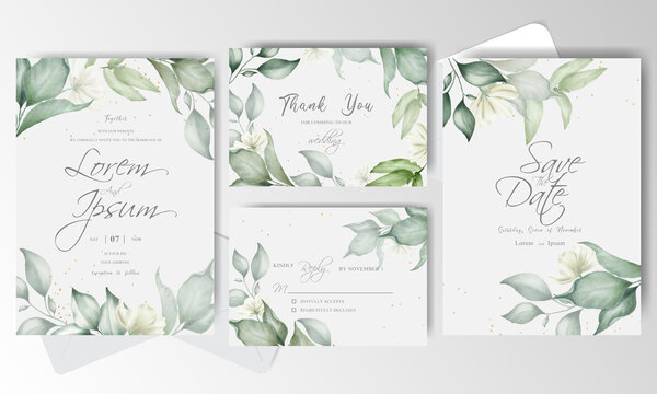 Watercolor and Greenery Wedding Invitation stationery