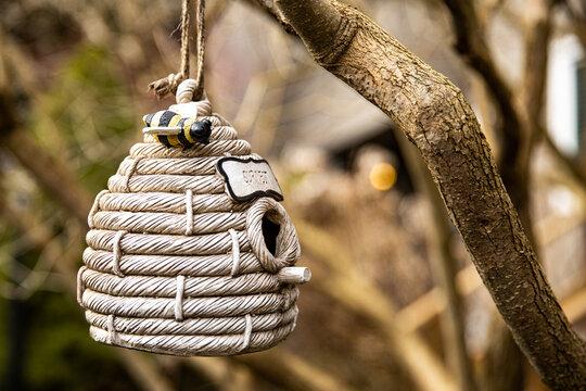 bird's nest ornament decoration hanging on a tree