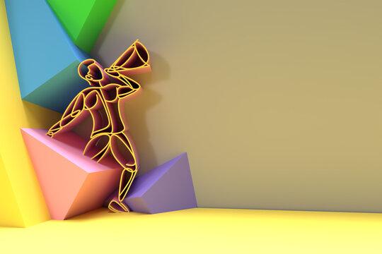 Man Hand Holding Megaphone Concept of business announcement, 3D Render illustration Design.