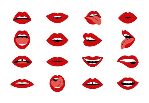 Cartoon woman s lips. Woman sexy kiss, open and closed mouth collection, red lipstick glamour shapes. Vector isolated set
