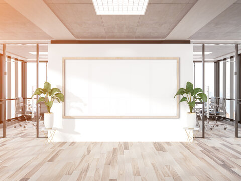 Panoramic frame Mockup hanging on office wall. Mock up of a large billboard in modern wooden company interior 3D rendering