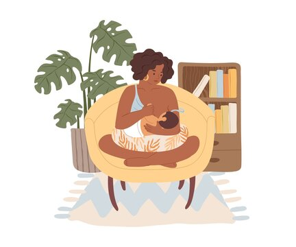Dark skinned mom breastfeeding her newborn baby. Mother sitting in armchair with child, who suckling breast. Woman feeding infant with breastmilk. Flat vector illustration isolated on white background