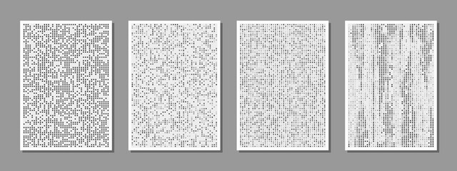 Obraz Set of abstract digital minimalist compositions good for wall decoration, as poster or banner design, vector. The binary flow pattern of square particles. - fototapety do salonu