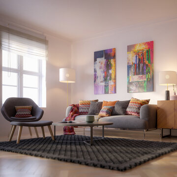 Furnishings and Art Panintings Inside an Apartment - focused 3d visualization
